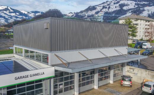 Aufstockung Pneulager, Garage Gianella AG, Seewen